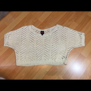 2b Bebe Short Off White With Gold Top Womens XL